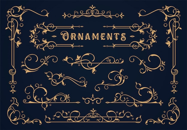 Set of vintage border element
