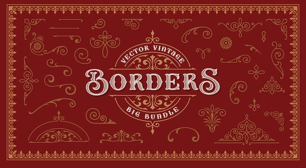 A set of vintage borders and design elements for packaging and decoration.