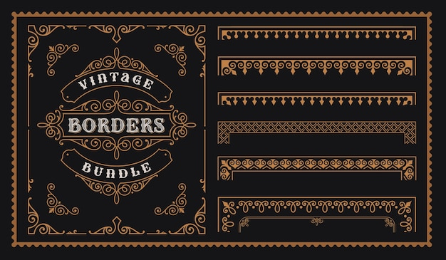 Set of vintage borders in victorian style, perfect for alcohol labels packaging and many other uses.