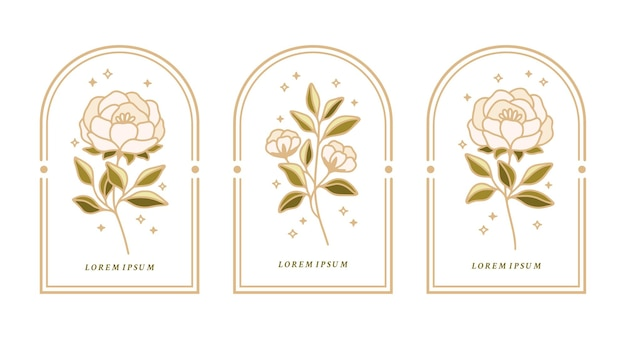 Set of vintage botanical labels with peony flower and leaves