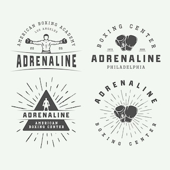 Set of vintage boxing and martial arts logo