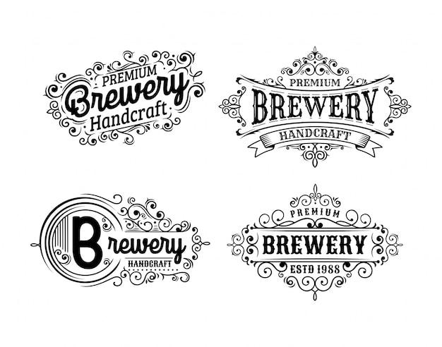 Set of vintage brewery badge design
