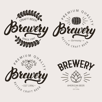 Set of vintage brewery badge, label, logo template.