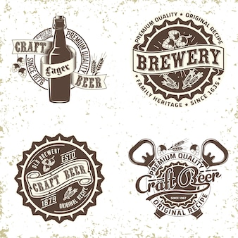 Set of vintage brewery logo  design,  grange print stamp, craft beer typography emblem,  t-shirt graphic creative design