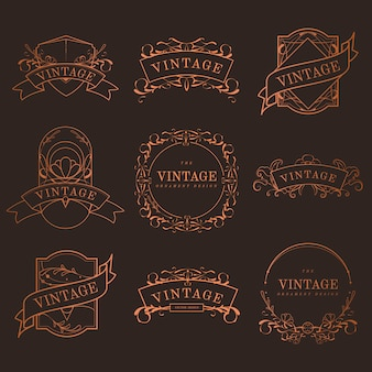 Set of vintage bronze art nouveau badges vector