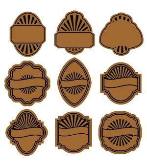 Set of vintage brown labels