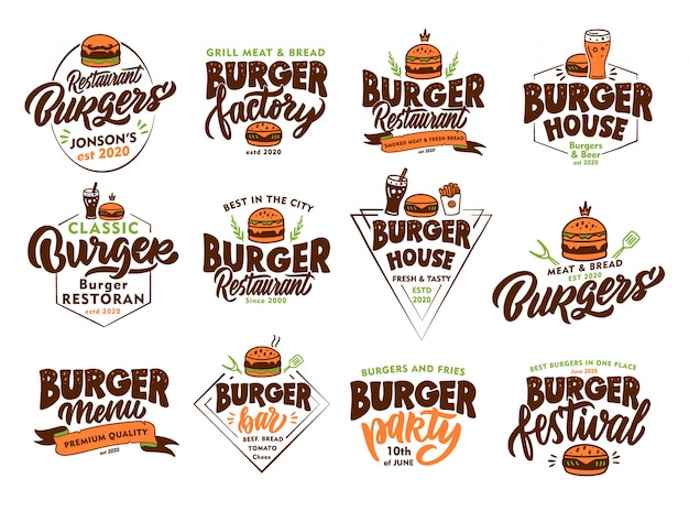 Set of vintage burger, fast food emblems and stamps. colorful badges, templates, stickers