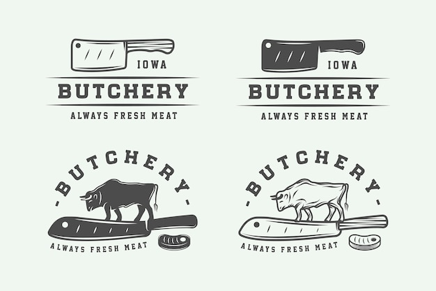 Set of vintage butchery meat logos