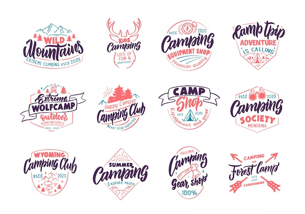 Set of vintage camping emblems and stamps. color camp shop, outdoor badges, templates and stickers