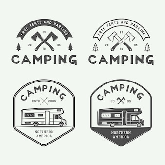 Set of vintage camping outdoor and adventure logos