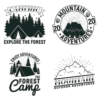 Set of vintage camping or tourism logo designs,  grange print stamps, creative typography emblems,