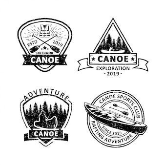 Set of vintage canoe badges labels, emblems and logo