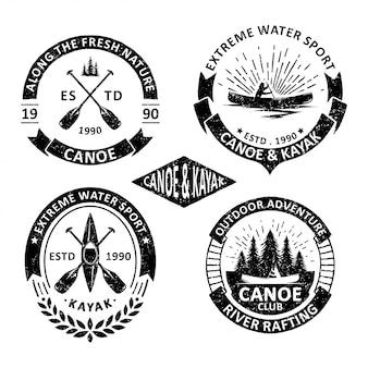 Set of vintage canoe badges