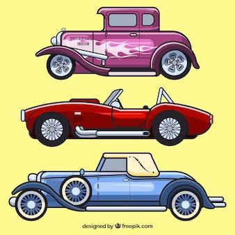 Set of vintage car profiles