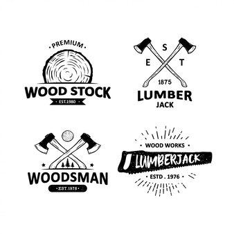 Set of vintage carpentry badges