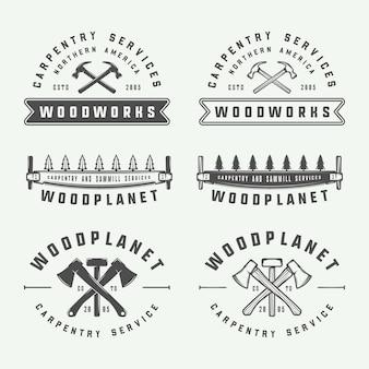 Set of vintage carpentry woodwork and mechanic labels