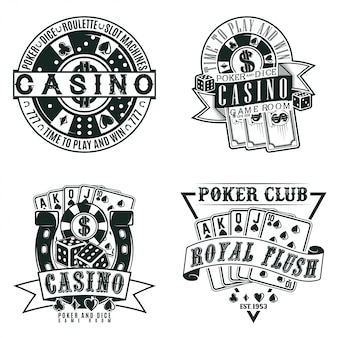 Set of vintage casino logo designs,  grange print stamps, creative poker typography emblems,