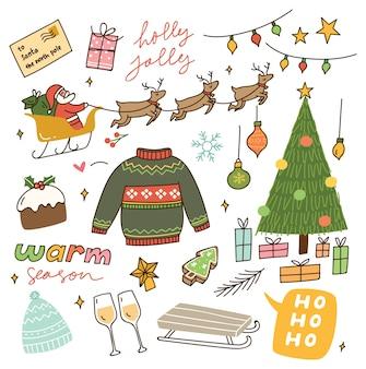 Set of vintage christmas doodle