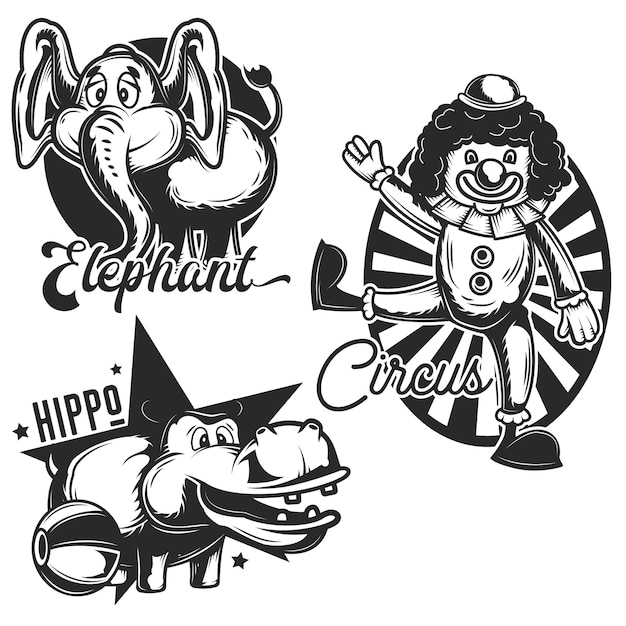 Set of vintage circus emblems