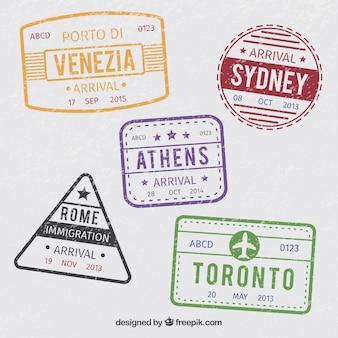 Set of vintage city stamps