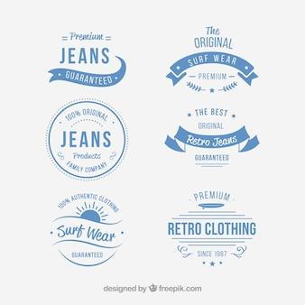 Set of vintage clothing badges