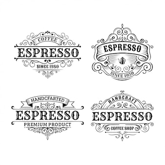 Set of vintage coffee label design, calligraphy and typography elements styled design