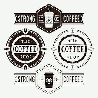 Set of vintage coffee vector logos, labels and emblems