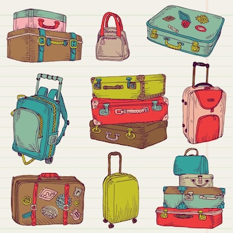 Set of vintage colorful suitcases for design and scrapbook