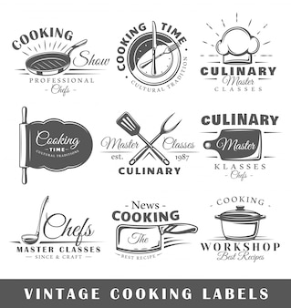 Set of vintage cooking labels