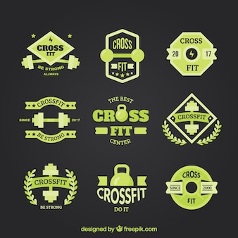 Set of vintage crossfit stickers