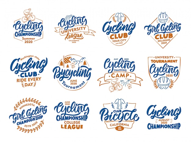 Set of vintage cycling, bicycle emblems, stamps. colorful badges, templates, stickers