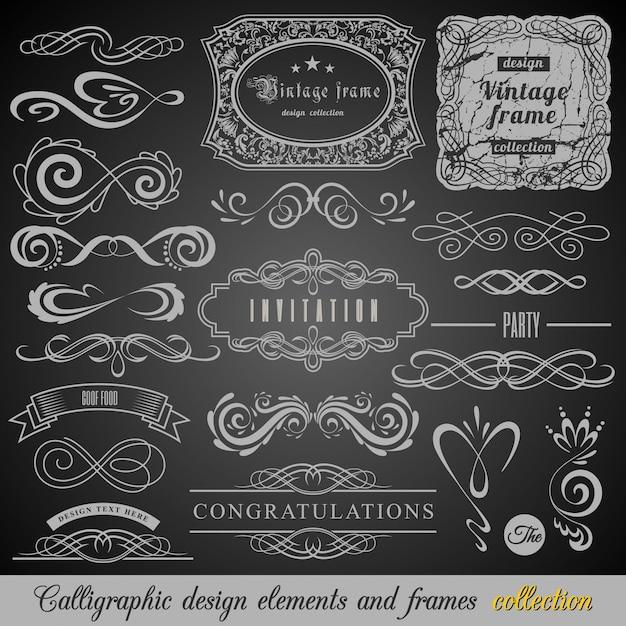 Set of vintage decorations elements