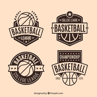Set of vintage decorative basketball badges