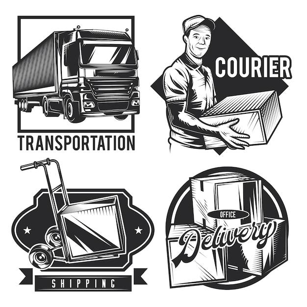 Set of vintage delivery emblems Free Vector