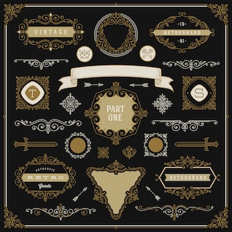 Set of vintage design elements - flourishes and ornamental frames, border, dividers, banners and other heraldic elements