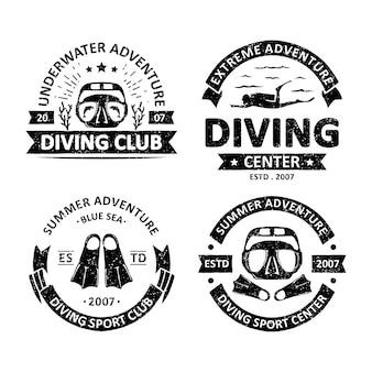 Set of vintage diving badges
