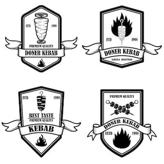 Set of vintage doner kebab label