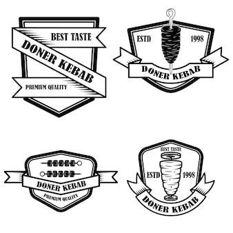 Set of vintage doner kebab labels. design element for logo, label, emblem, sign, badge.