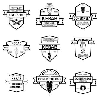 Set of vintage doner kebab labels.