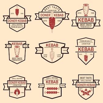 Set of vintage doner kebab labels