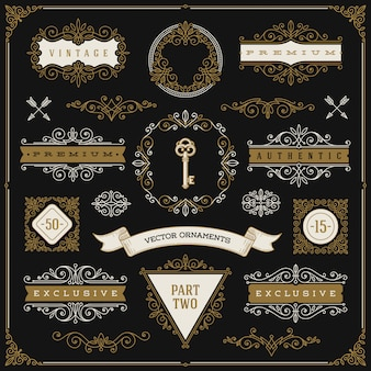 Set of vintage  elements - flourishes and ornamental frames, border, dividers, banners and other heraldic elements for logo, emblem, heraldry, greeting, invitation, page design. Premium Vector