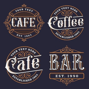 Set of vintage emblems for the catering.  lettering illustrations of cafe, coffee shop and bar. all objects are on the separate groups.