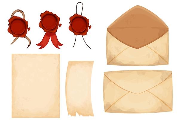漫画のスタイルで赤いワックスシールでヴィンテージ封筒の手紙の紙を設定します