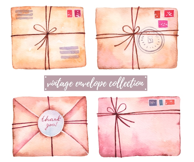 Set of vintage envelopes, letters with stamps watercolor illustration on a white background