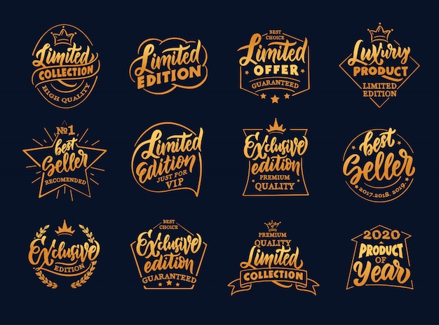Set of vintage exclusive and limited edition badges, templates on black background isolated