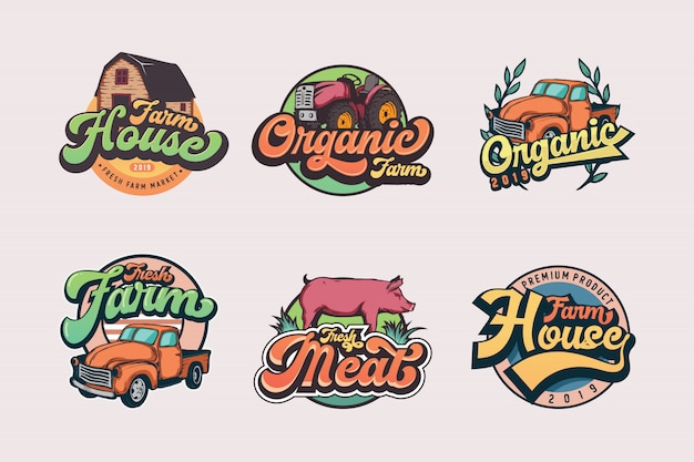Set of vintage farmer logo templates
