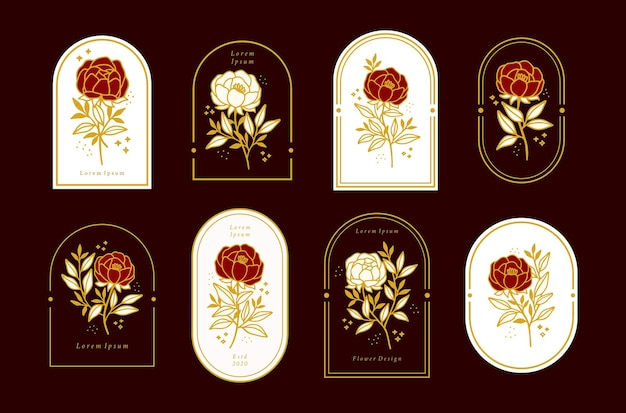Set of vintage feminine beauty floral logo elements with frame for women