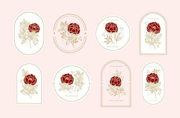 Set of vintage feminine beauty floral logo elements with frame for women Premium Vector