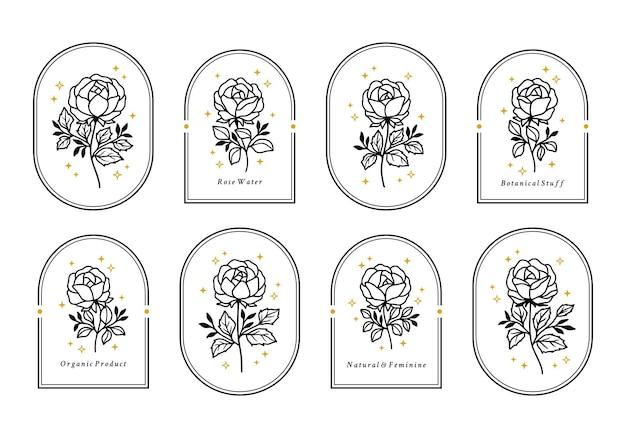 Set of vintage feminine beauty floral logo elements with frame