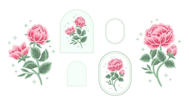 Set of vintage feminine beauty rose peony floral label logo elements with frame for women